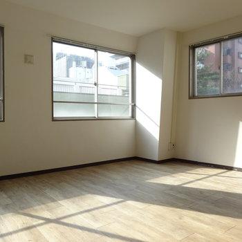 角部屋なので窓は3面。