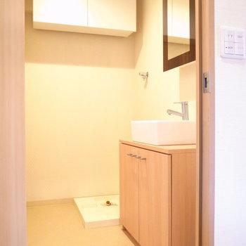 洗面脱衣所もそんなに狭くありませんよ!いちばん奥に洗濯パンがあります。