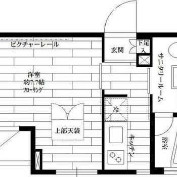 玄関をセンターにお部屋と水回りが分かれたお部屋