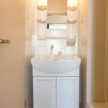 独立洗面台も清潔感あります