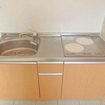 キッチンはIHの2口コンロ。