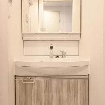 収納もたっぷりな洗面。