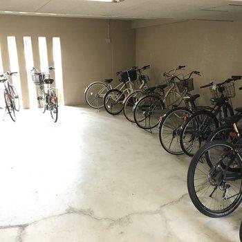 自転車置き場はエントランスのすぐ横に