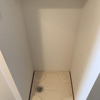 洗濯機置き場の上には棚があるので洗剤はこちらに。(※写真は5階の同間取り別部屋のものです)