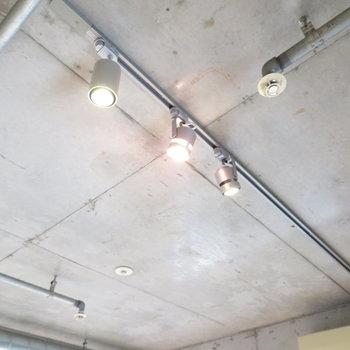 ライティングレールにダウンライト(※写真は11階の同間取り別部屋のものです)