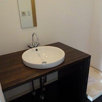 鏡が細長いのが珍しい!?※写真は3階の同間取り別部屋のものです。