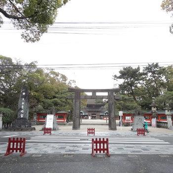 筥崎宮に向かって沿道をてくてく・・。鳥居にぺこり。