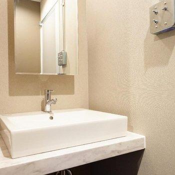 独立洗面台もしっかり!※写真は7階の同間取り別部屋のものです。