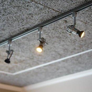 特徴的な天井とライティングレールで。※写真は7階の同間取り別部屋のものです。