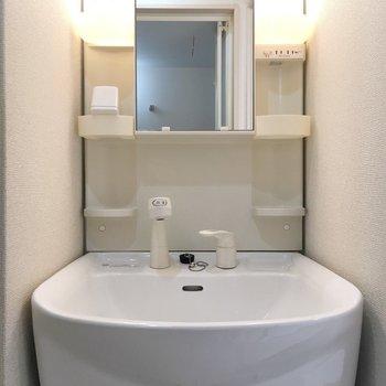 洗面台には棚も証明もしっかりついてます。※写真は5階の同間取り別部屋のものです