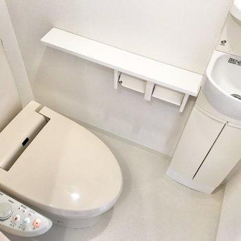 トイレはウォシュレットと手洗い場付き。