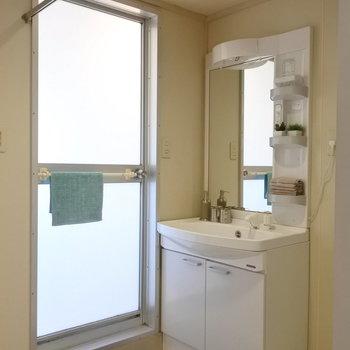 洗面所はカーテンで仕切るタイプ。