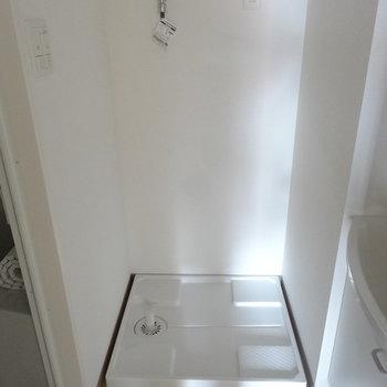 洗濯パンは脱衣スペースに。大きめも置けそうです。