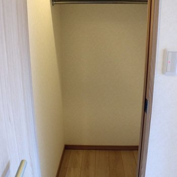 リビング手前のウォークインクローゼット※写真は4階の反転間取り別部屋のものです