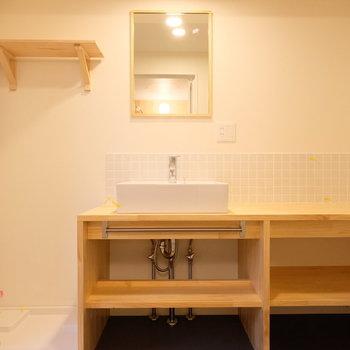 造作洗面も大きく!テンション上がります。