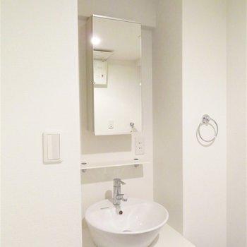 丸い洗面器が特徴のシンプルな洗面台です(※写真は12階の同間取り別部屋のものです)