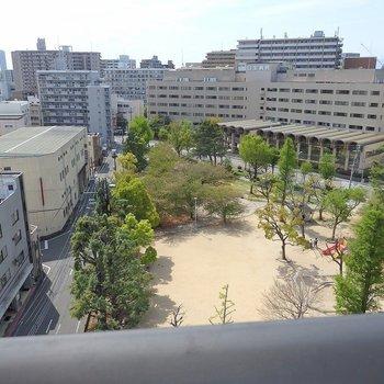 下を見れば公園ビュー。