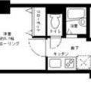 21.41㎡の1Kタイプのお部屋