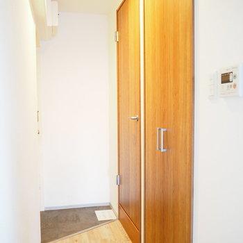 玄関です。右側の扉が収納になっています。
