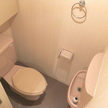 手洗い付きの個室トイレ。上品です。