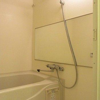 鏡が大きめ!自分の筋トレチェックにいいかも※写真は3階の同間取り別部屋のものです