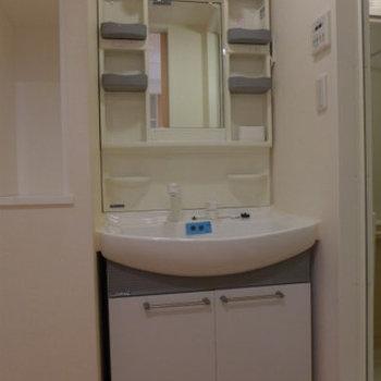 洗面台も大きく、使い勝手もgood!(※写真は2階の反転間取り別部屋のものです)