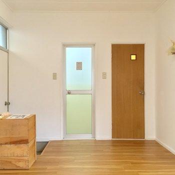 今度はキッチン側から。右の扉は・・・
