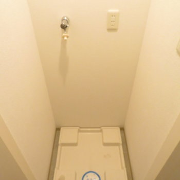 廊下の扉を開けると洗濯機置き場ですね