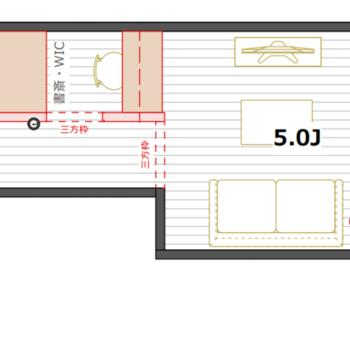 101号室のみウォークインクローゼット兼書斎スペース付の間取り
