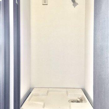 洗濯パンは扉で目隠しできますよ。