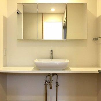 洗面所はサイドのスペースがありがたい。ふたりでも立てますね!