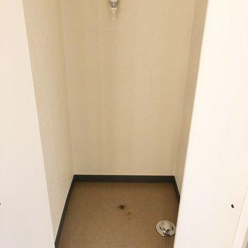 洗濯機置き場は玄関横に。扉で隠せます。