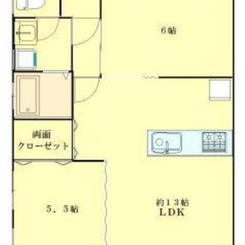 2LDK。それぞれのスペースの区切りはゆるいです。