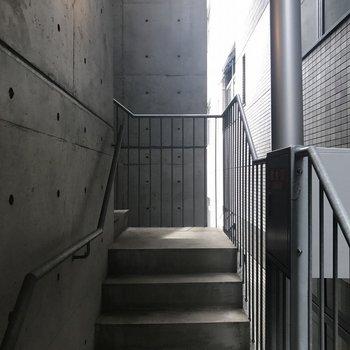 エレベーター周りをぐるりする階段