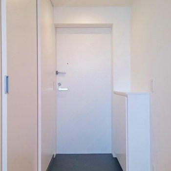 シンプルにまとまった玄関
