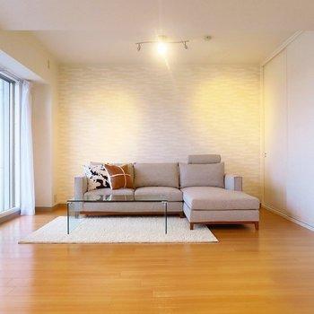 スリーシーターのソファがすっぽりと。