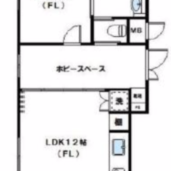 ホビースペースを挟んで2部屋あります