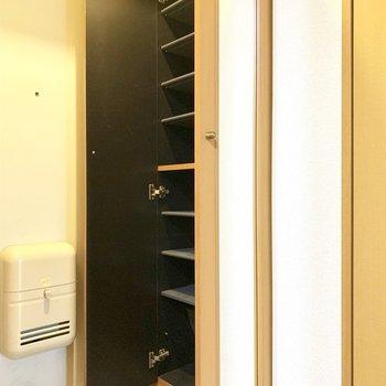 シューズボックスに全身鏡!うれしい〜※写真は4階の同間取り別部屋、清掃前のものです