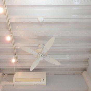 天井はデッキプレート。シーリングファンも良いですね!
