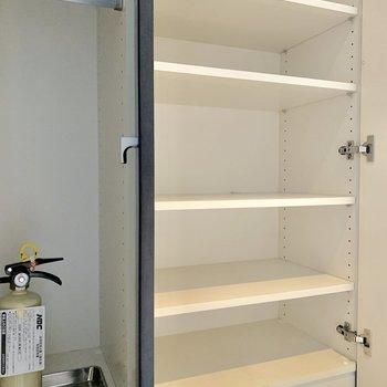 シューズボックスは全部で5段ですよ※写真は12階の同間取り別部屋のものです