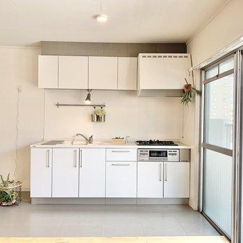 キッチン周りは土間のようになっていて、汚れも拭き取りやすいスグレモノ。