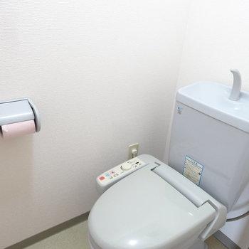 トイレはペールブルー。