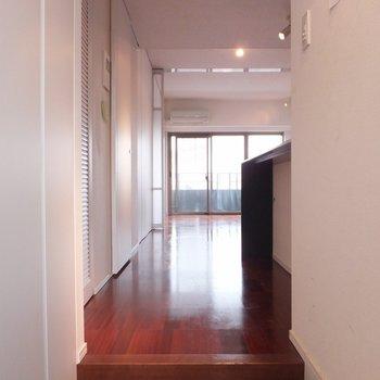 玄関から。左に収納や機能がまとまっています。*写真は別部屋です