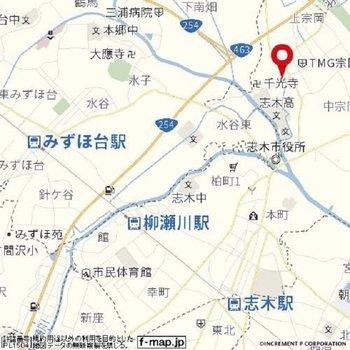 志木駅までは距離があります
