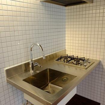 キッチンはステンレス*写真は別部屋です