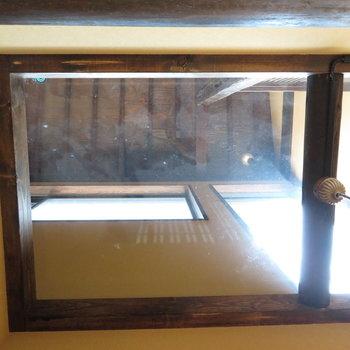 ガラスになっていて2階を見ることができます。こうやって明るさを作っているんですね