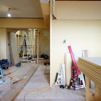 リビングと寝室は引戸で仕切ります※写真は工事中です