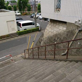玄関出たところは階段です!