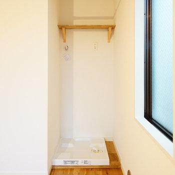 洗濯機は居室から奥まったとこに。