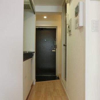 玄関とキッチンの配置 ※写真は別部屋です